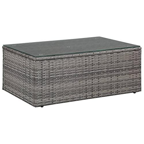 vidaXL Gartensofa 14-TLG. Poly Rattan Grau Lounge Sitzgruppe Sofa Gartenmöbel - 3