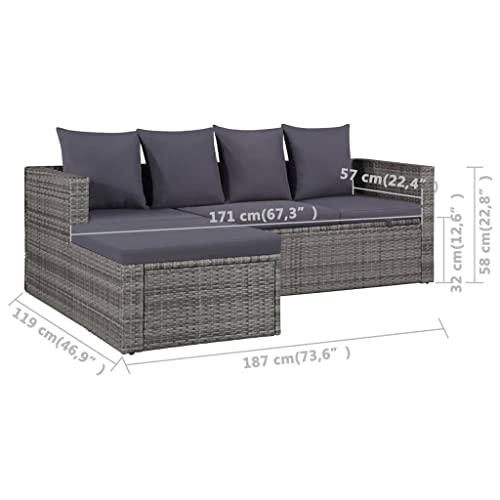 vidaXL Gartensofa 14-TLG. Poly Rattan Grau Lounge Sitzgruppe Sofa Gartenmöbel - 4