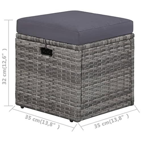 vidaXL Gartensofa 14-TLG. Poly Rattan Grau Lounge Sitzgruppe Sofa Gartenmöbel - 7