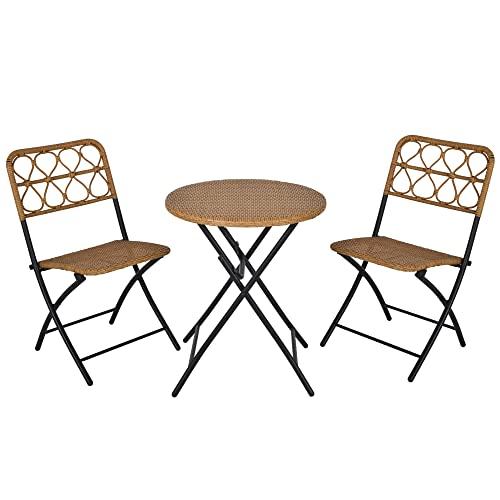 Outsunny 3 TLG. Polyrattan Sitzgruppe Bistroset Balkonset Garnitur 2 Stühlen + Tisch Klappbar Garten Natur