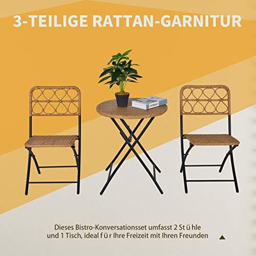 Outsunny 3 TLG. Polyrattan Sitzgruppe Bistroset Balkonset Garnitur 2 Stühlen + Tisch Klappbar Garten Natur - 4