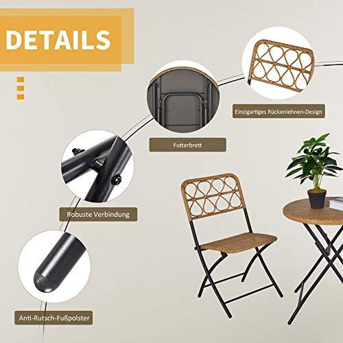 Outsunny 3 TLG. Polyrattan Sitzgruppe Bistroset Balkonset Garnitur 2 Stühlen + Tisch Klappbar Garten Natur - 6