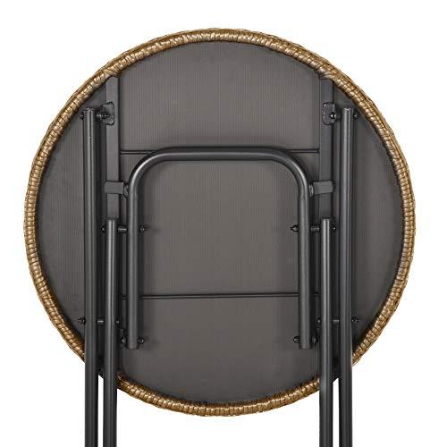 Outsunny 3 TLG. Polyrattan Sitzgruppe Bistroset Balkonset Garnitur 2 Stühlen + Tisch Klappbar Garten Natur - 7