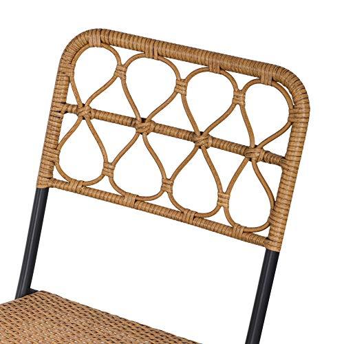 Outsunny 3 TLG. Polyrattan Sitzgruppe Bistroset Balkonset Garnitur 2 Stühlen + Tisch Klappbar Garten Natur - 8