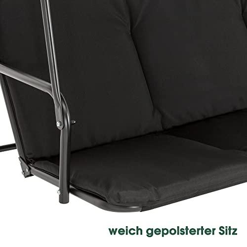 M MCombo 3-Sitzer Hollywoodschaukel Gartenschaukel Gartenliege Schaukelbank 8003 (Schwarz) - 5