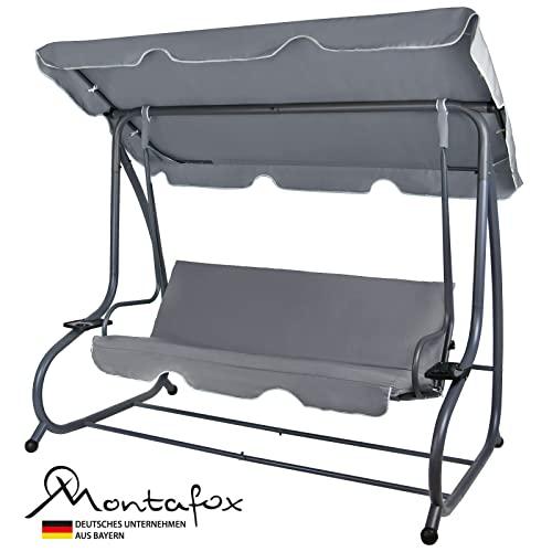 Montafox 4-Sitzer Hollywoodschaukel Gartenschaukel klappbar mit Bettfunktion mit Sonnendach und Liegefunktion für 4 Personen, Farbe:Asphaltgrau - 2