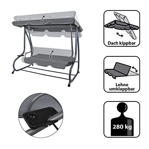 Montafox 4-Sitzer Hollywoodschaukel Gartenschaukel klappbar mit Bettfunktion mit Sonnendach und Liegefunktion für 4 Personen, Farbe:Asphaltgrau - 3