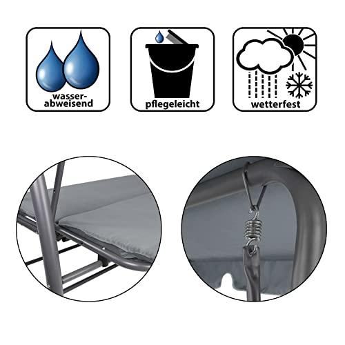 Montafox 4-Sitzer Hollywoodschaukel Gartenschaukel klappbar mit Bettfunktion mit Sonnendach und Liegefunktion für 4 Personen, Farbe:Asphaltgrau - 5