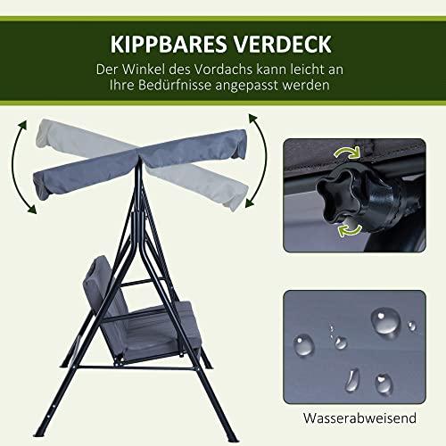 Outsunny Hollywoodschaukel Gartenschaukel Schaukelbank 3-Sitzer mit Dach Stahl Grau 172x110x152cm - 4