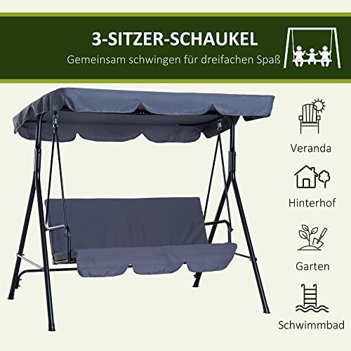 Outsunny Hollywoodschaukel Gartenschaukel Schaukelbank 3-Sitzer mit Dach Stahl Grau 172x110x152cm - 7