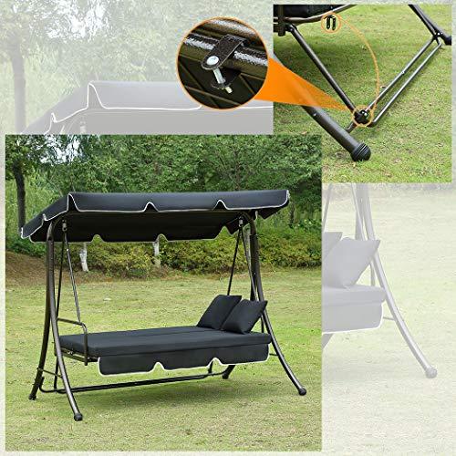 Loywe Hollywoodschaukel Gartenschaukel Moderne Gartenliege Outdoor Schaukelbank mit Liegefunktion 190x135x170cm LW10 Schwarz - 5