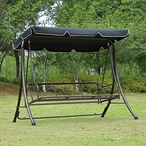 Loywe Hollywoodschaukel Gartenschaukel Moderne Gartenliege Outdoor Schaukelbank mit Liegefunktion 190x135x170cm LW10 Schwarz - 7