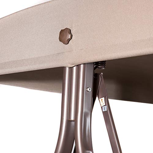 SORARA Luxus 3-sitzer Hollywoodschaukel | Braun | extra stabile Ausführung | Gartenschaukel Gartenliege Schaukelbank Gartenmöbel - 3