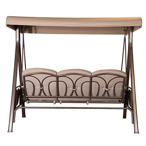 SORARA Luxus 3-sitzer Hollywoodschaukel | Braun | extra stabile Ausführung | Gartenschaukel Gartenliege Schaukelbank Gartenmöbel - 5