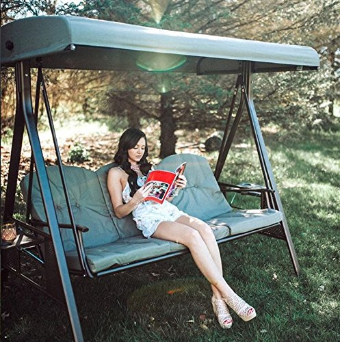 SORARA Luxus 3-sitzer Hollywoodschaukel | Braun | extra stabile Ausführung | Gartenschaukel Gartenliege Schaukelbank Gartenmöbel - 7