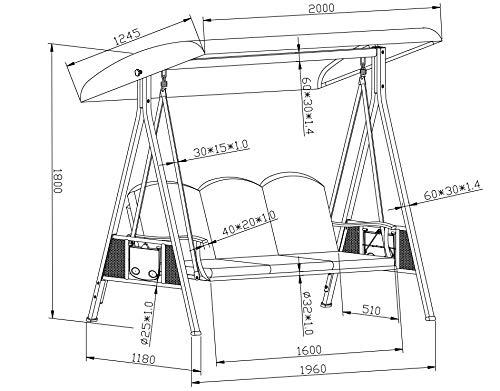 SORARA Luxus 3-sitzer Hollywoodschaukel | Braun | extra stabile Ausführung | Gartenschaukel Gartenliege Schaukelbank Gartenmöbel - 9
