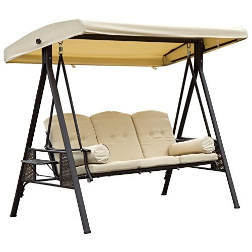 Outsunny 3-Sitzer Hollywoodschaukel Gartenschaukel mit Sonnendach + Kissen Metall + Polyester Beige + Braun 124,5 x 206 x 180 cm