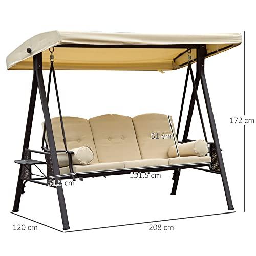 Outsunny 3-Sitzer Hollywoodschaukel Gartenschaukel mit Sonnendach + Kissen Metall + Polyester Beige + Braun 124,5 x 206 x 180 cm - 3