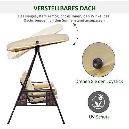 Outsunny 3-Sitzer Hollywoodschaukel Gartenschaukel mit Sonnendach + Kissen Metall + Polyester Beige + Braun 124,5 x 206 x 180 cm - 4
