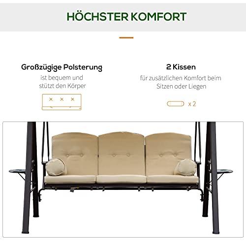 Outsunny 3-Sitzer Hollywoodschaukel Gartenschaukel mit Sonnendach + Kissen Metall + Polyester Beige + Braun 124,5 x 206 x 180 cm - 6