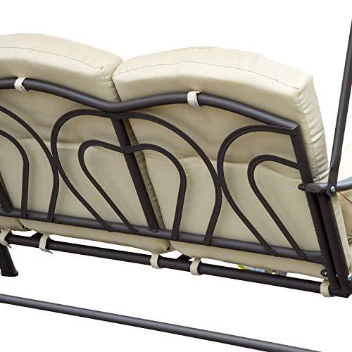 Outsunny 3-Sitzer Hollywoodschaukel Gartenschaukel mit Sonnendach + Kissen Metall + Polyester Beige + Braun 124,5 x 206 x 180 cm - 7