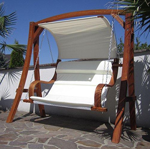 ASS Design Hollywoodschaukel Gartenschaukel MERU aus Holz Lärche inkl. Abdeckung von AS-S, Farbe:Cremeweiss - 5