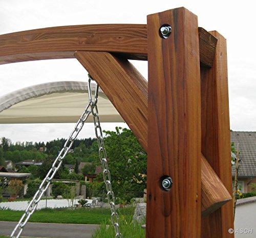ASS Design Hollywoodschaukel Gartenschaukel MERU aus Holz Lärche inkl. Abdeckung von AS-S, Farbe:Cremeweiss - 9