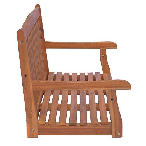 Outsunny Hängebank Gartenschaukel Hollywoodschaukel 2-Sitzer mit Ketten Holz Braun B122 x T61 x H59cm - 5