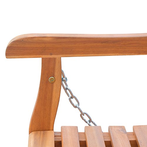 Outsunny Hängebank Gartenschaukel Hollywoodschaukel 2-Sitzer mit Ketten Holz Braun B122 x T61 x H59cm - 7