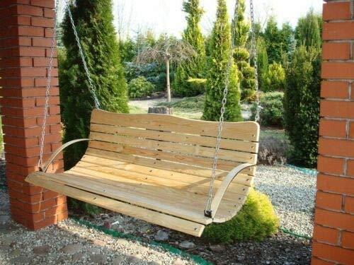 123home24 NEU Holz Hollywoodschaukel Bank Sitz ZUR SCHAUKEL 180 150 120 cm + Kette + KARABINER XXL (180) - 7