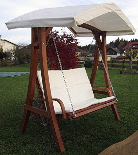 ASS Design Hollywoodschaukel Gartenschaukel Schaukelbank KUREDO mit Dach aus Holz Lärche - 2