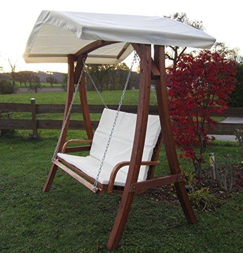 ASS Design Hollywoodschaukel Gartenschaukel Schaukelbank KUREDO mit Dach aus Holz Lärche - 3