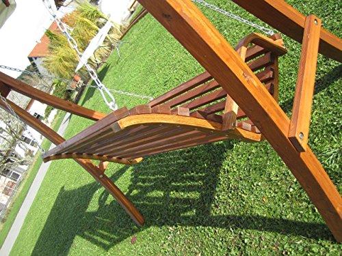 ASS Design Hollywoodschaukel Gartenschaukel Schaukelbank KUREDO mit Dach aus Holz Lärche - 8