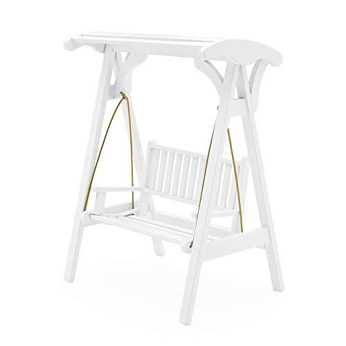 Odoria 1/12 Miniatur Gartenmöbel Hollywoodschaukel Gartenschaukel 2-Sitzer Holz Weiß Für Puppenhaus Möbel Zubehör
