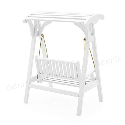 Odoria 1/12 Miniatur Gartenmöbel Hollywoodschaukel Gartenschaukel 2-Sitzer Holz Weiß Für Puppenhaus Möbel Zubehör - 3