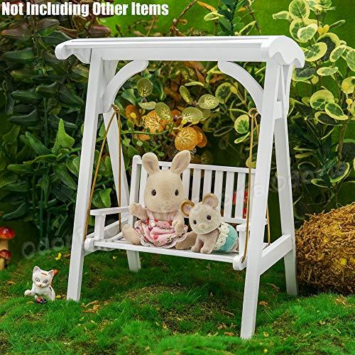Odoria 1/12 Miniatur Gartenmöbel Hollywoodschaukel Gartenschaukel 2-Sitzer Holz Weiß Für Puppenhaus Möbel Zubehör - 6