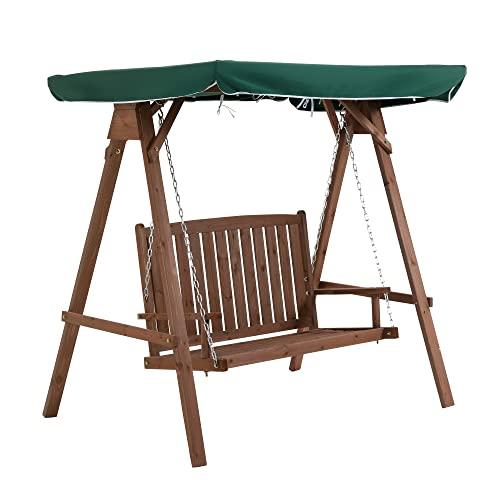 Outsunny Gartenschaukel für 2 Personen, Hollywoodschaukel, Schaukelbank mit Dach, Massivholz, Grün, 160 x 120 x 165 cm