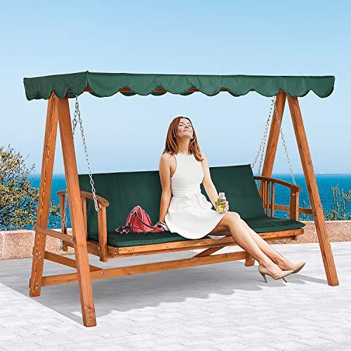 Outsunny® Hollywoodschaukel mit Sonnendach Echtholz-Gartenschaukel Schaukelbank Schaukel mit Liege-Funktion aus Lärchenholz für 3-4 Personen - 2