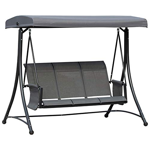Outsunny 3-Sitzer Hollywoodschaukel, Gartenschaukel mit Sonnendach, Schaukelbank mit Ablage, Aluminium, Grau, 196 x 128 x 172 cm