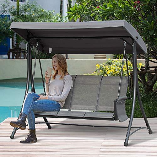 Outsunny 3-Sitzer Hollywoodschaukel, Gartenschaukel mit Sonnendach, Schaukelbank mit Ablage, Aluminium, Grau, 196 x 128 x 172 cm - 2