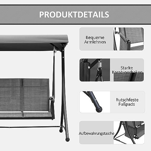 Outsunny 3-Sitzer Hollywoodschaukel, Gartenschaukel mit Sonnendach, Schaukelbank mit Ablage, Aluminium, Grau, 196 x 128 x 172 cm - 6