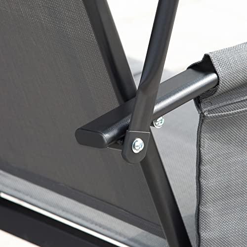 Outsunny 3-Sitzer Hollywoodschaukel, Gartenschaukel mit Sonnendach, Schaukelbank mit Ablage, Aluminium, Grau, 196 x 128 x 172 cm - 8