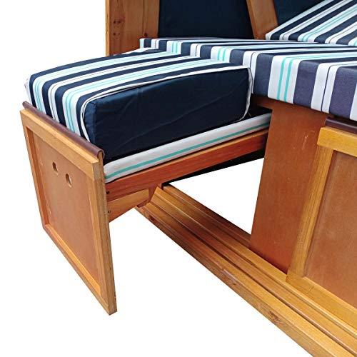 BRAST Strandkorb Deluxe 2-Sitzer XXL für 2 Personen 120cm breit mehrere Designs incl. Abdeckhaube Farbe Blau/Hellblau/Weiß gestreift Ostsee - 3