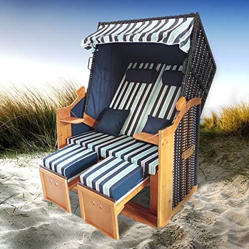 BRAST Strandkorb Deluxe 2-Sitzer XXL für 2 Personen 120cm breit mehrere Designs incl. Abdeckhaube Farbe Blau/Hellblau/Weiß gestreift Ostsee - 8