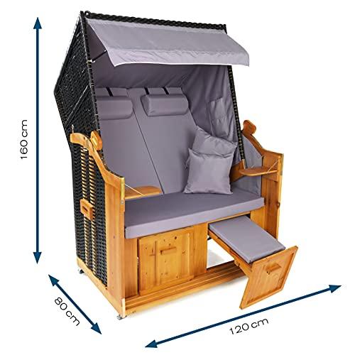Hoberg 2-Sitzer-Strandkorb (Ostsee), 120x80x160 cm, 5 Liegestufen einstellbar, Rollen mit Feststellbremsen, ausziehbare Fußbänke, 2 Nackenkissen - 3