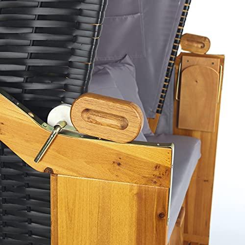Hoberg 2-Sitzer-Strandkorb (Ostsee), 120x80x160 cm, 5 Liegestufen einstellbar, Rollen mit Feststellbremsen, ausziehbare Fußbänke, 2 Nackenkissen - 8