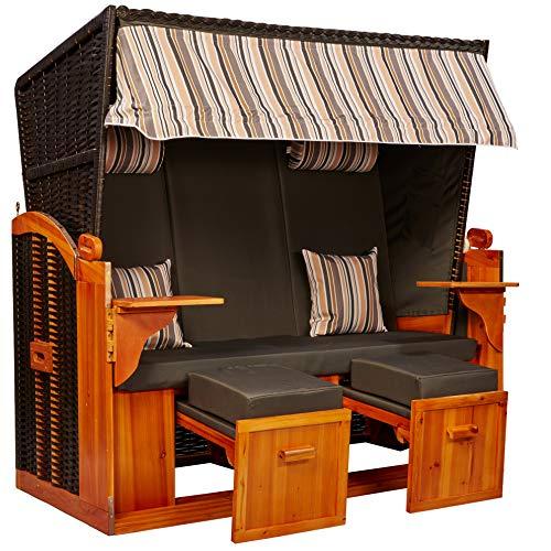 intergrill Strandschönheiten Claudia Ostsee XXL Strandkorb 2,5-Sitzer Verschiedene Dekor Terrassen Wintergärten Garten inkl Schutzhülle