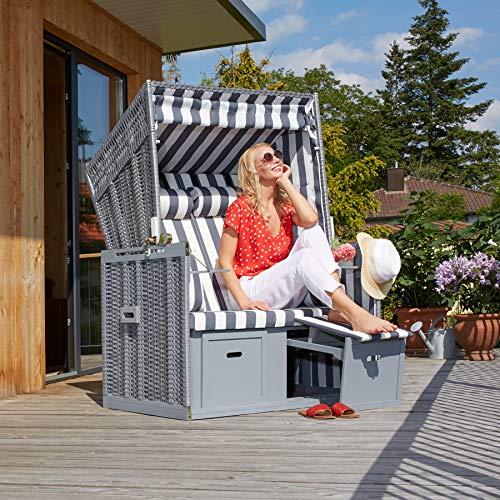 tectake 800805 Strandkorb Ostsee 2-Sitzer, 4-Fach verstellbare Rückenlehne, Volllieger mit Fußbänkchen und Seitentische, inkl. Schutzhülle + Kissen (Grau Weiß | Nr. 403907) - 2
