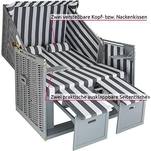 tectake 800805 Strandkorb Ostsee 2-Sitzer, 4-Fach verstellbare Rückenlehne, Volllieger mit Fußbänkchen und Seitentische, inkl. Schutzhülle + Kissen (Grau Weiß | Nr. 403907) - 4
