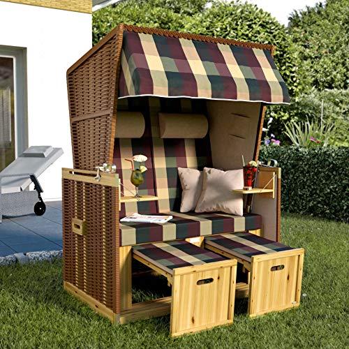 SANZARO Strandkorb XL 120 cm Deluxe Zweisitzer   Holz und Poly-Rattan   Sylt Ostsee Volllieger   inkl. 4 Kissen klappbare Rückenlehne   Rot-Beige-Grün Karo - 2